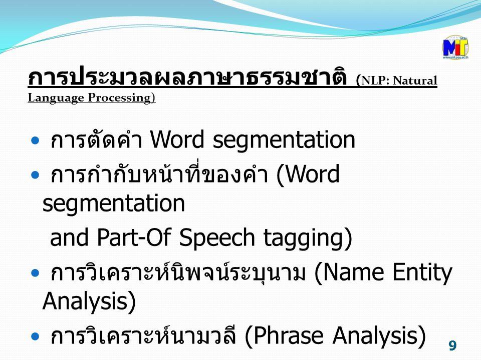 การประมวลผลภาษาธรรมชาติ (NLP: Natural Language Processing)