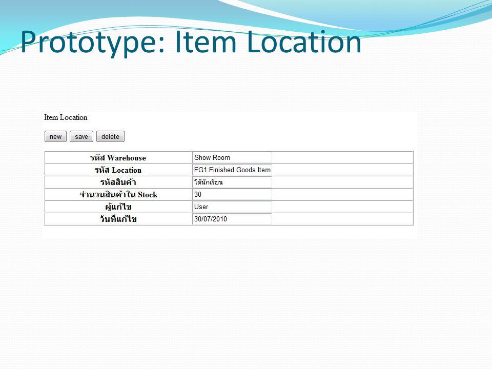 Prototype: Item Location
