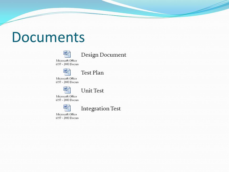 Documents Design Document Test Plan Unit Test Integration Test