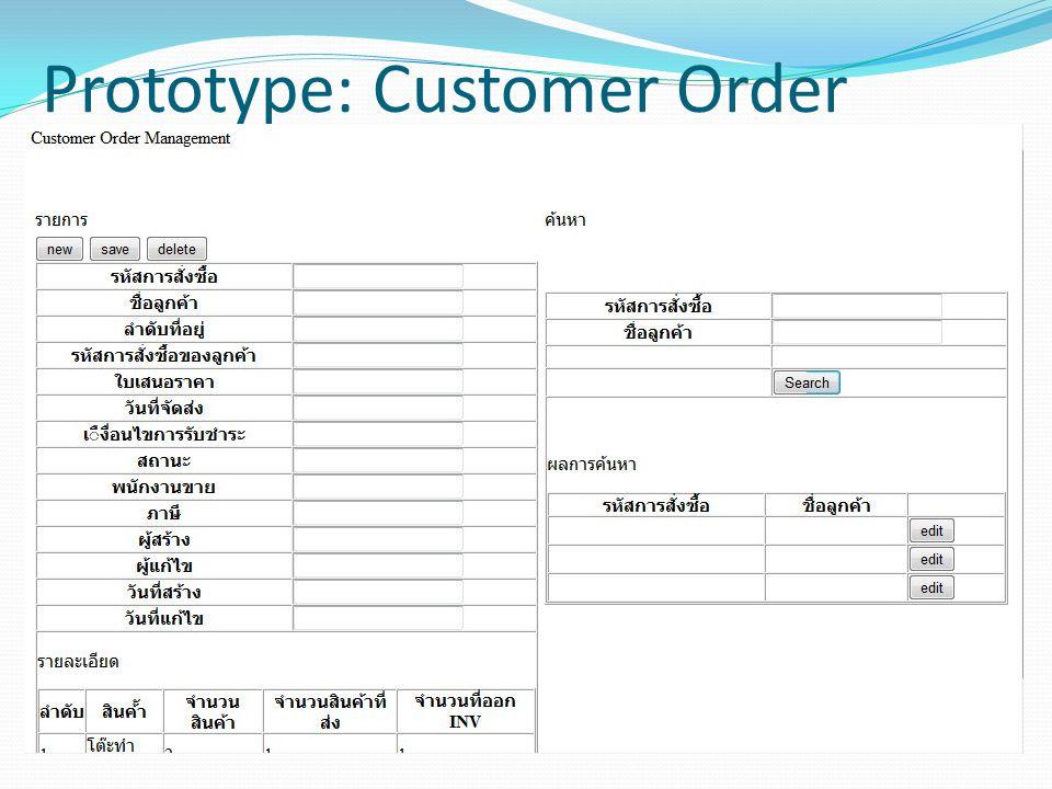 Prototype: Customer Order