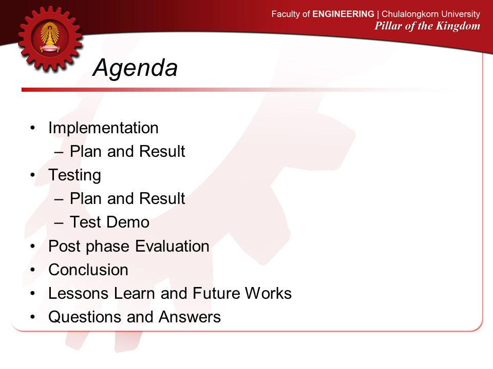 Agenda Implementation Plan and Result Testing Test Demo