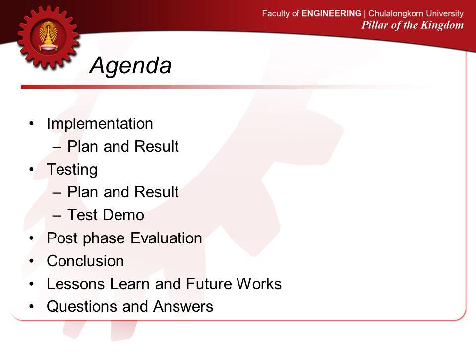 Agenda Implementation Plan and Result Testing Test Demo