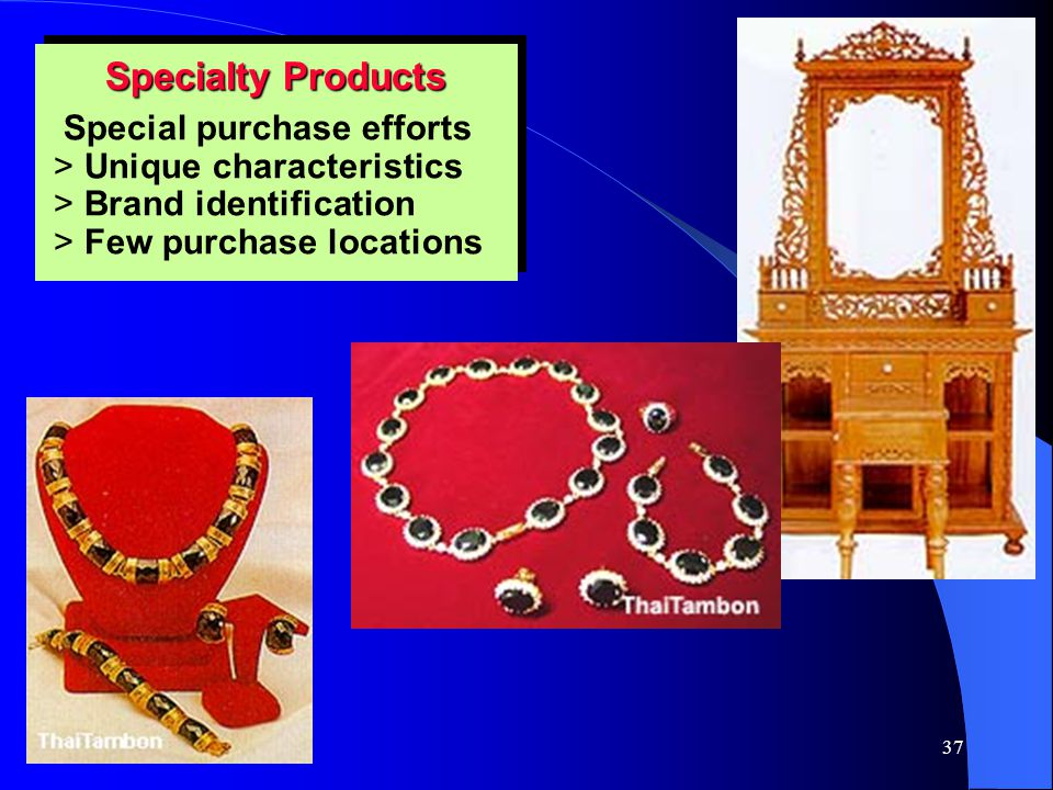 Specialty Products Special purchase efforts Unique characteristics