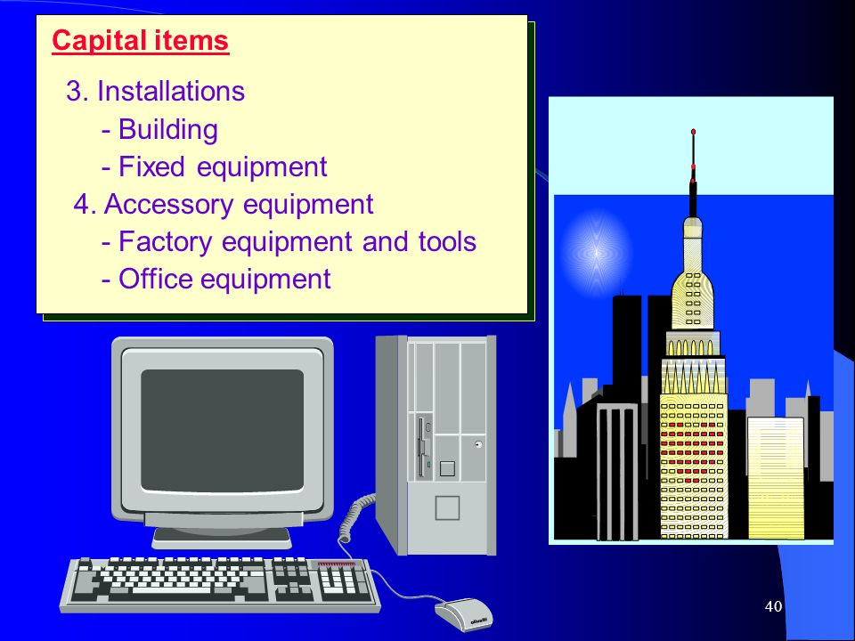 Capital items 3. Installations. - Building. - Fixed equipment. 4. Accessory equipment. - Factory equipment and tools.