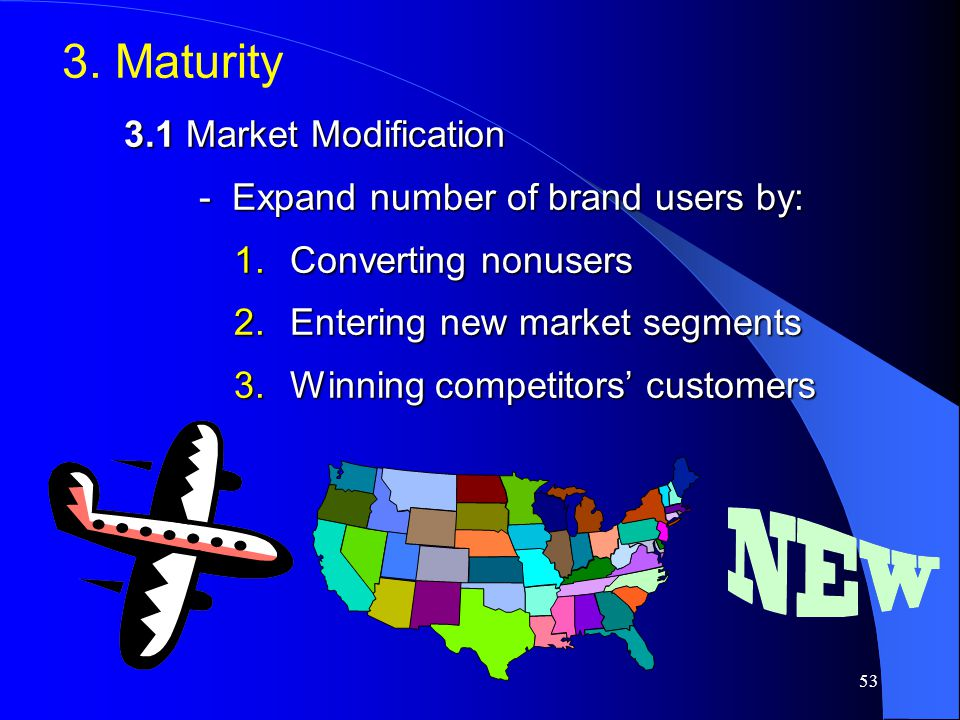 3. Maturity 3.1 Market Modification - Expand number of brand users by: