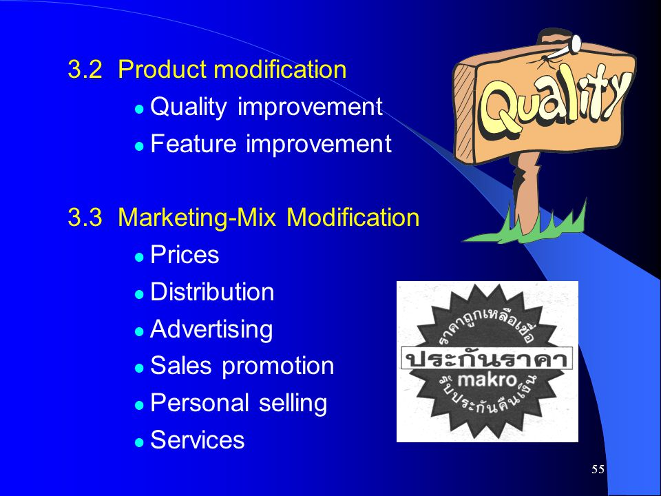 3.2 Product modification Quality improvement. Feature improvement. 3.3 Marketing-Mix Modification.