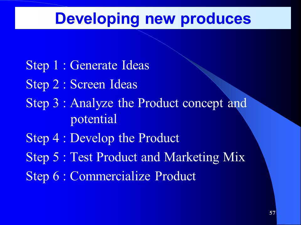 Developing new produces