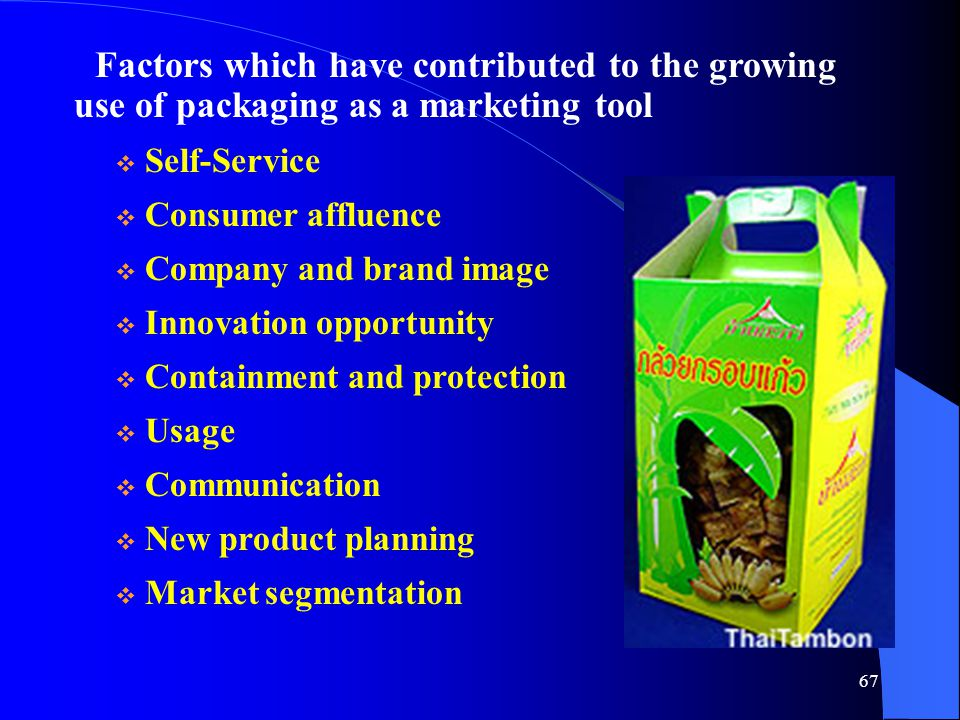 Factors which have contributed to the growing use of packaging as a marketing tool