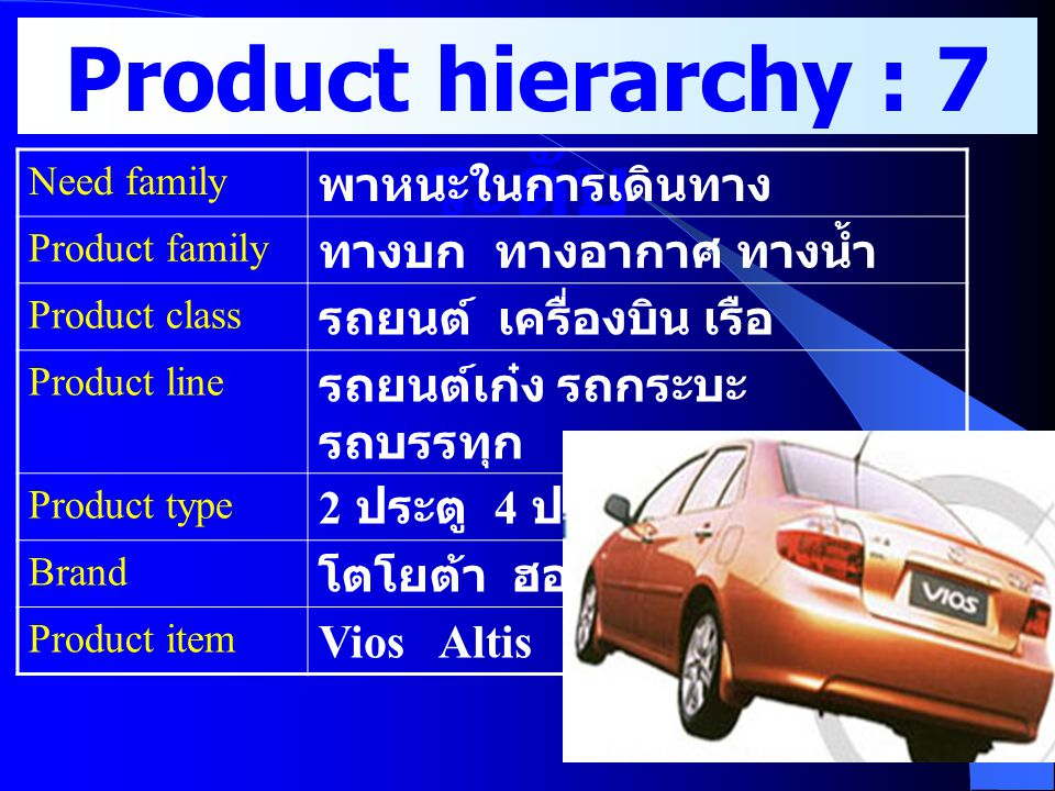 Product hierarchy : 7 ระดับ