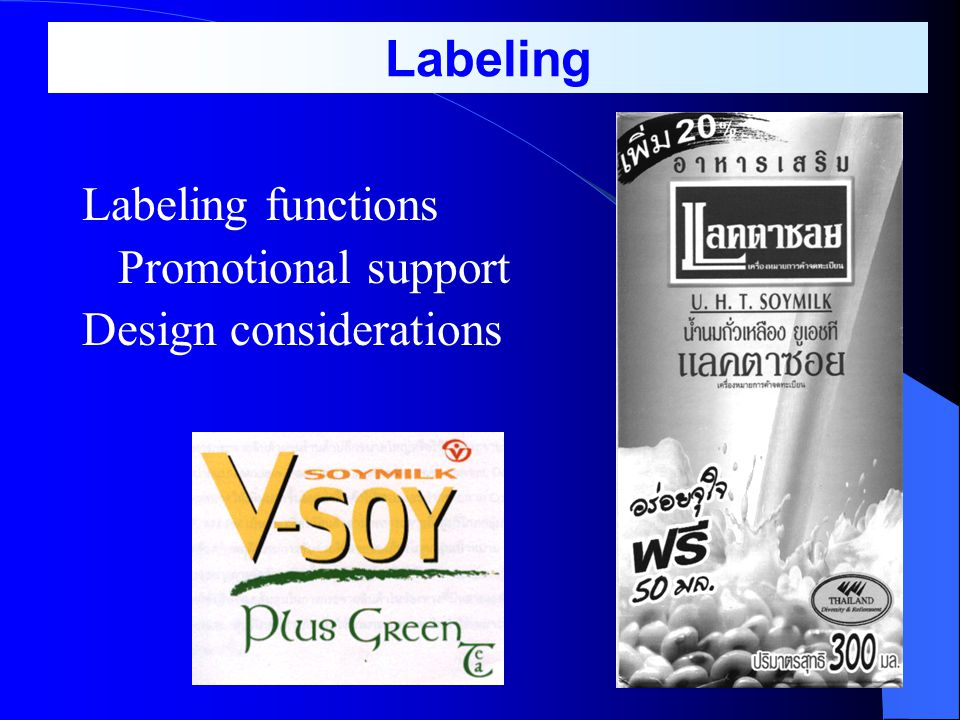 Labeling Labeling functions Promotional support Design considerations
