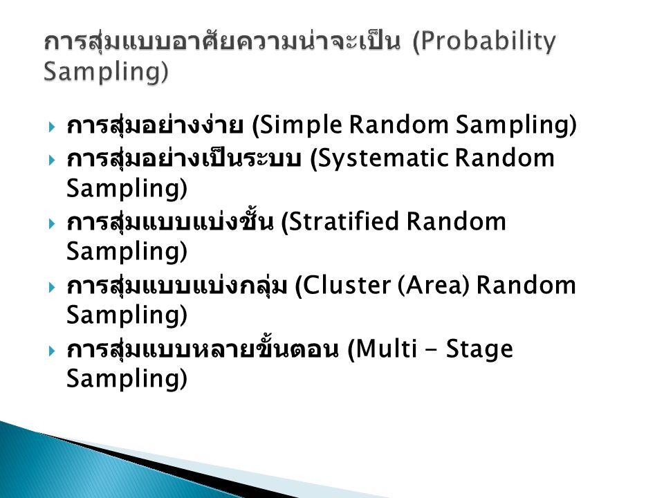 การสุ่มแบบอาศัยความน่าจะเป็น (Probability Sampling)