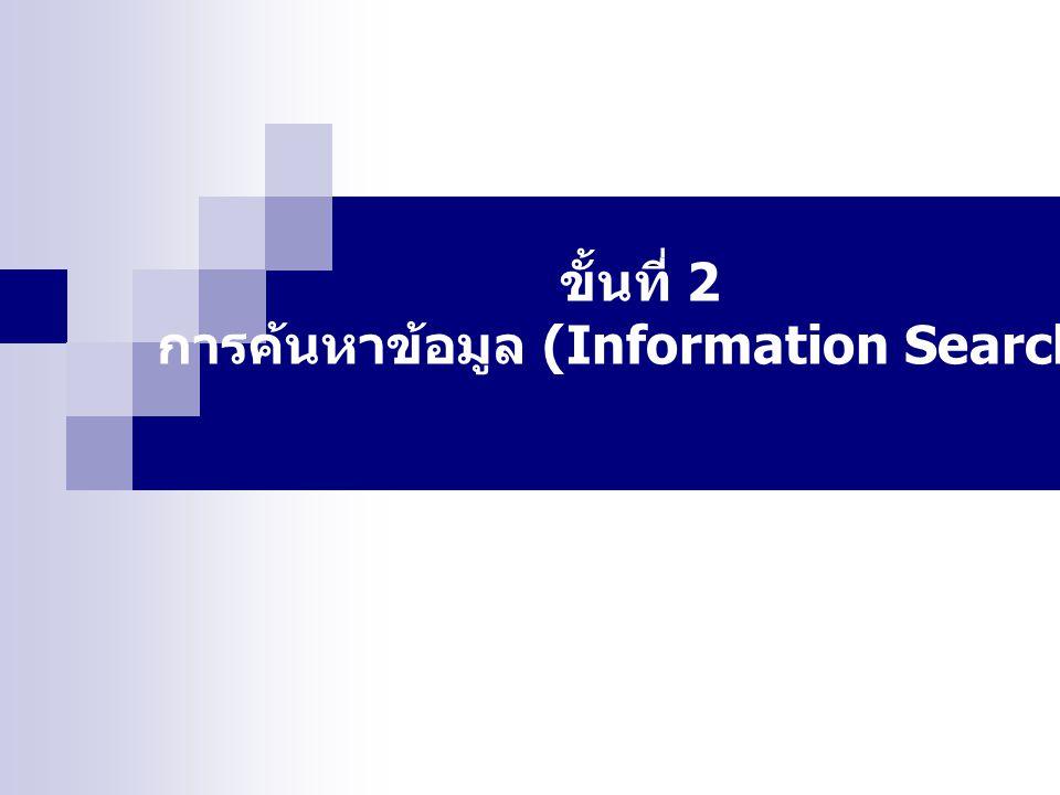 การค้นหาข้อมูล (Information Search)