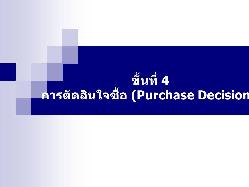 การตัดสินใจซื้อ (Purchase Decision)