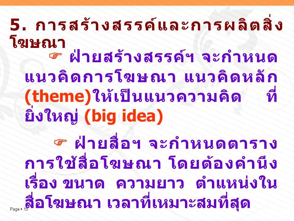 5. การสร้างสรรค์และการผลิตสิ่งโฆษณา