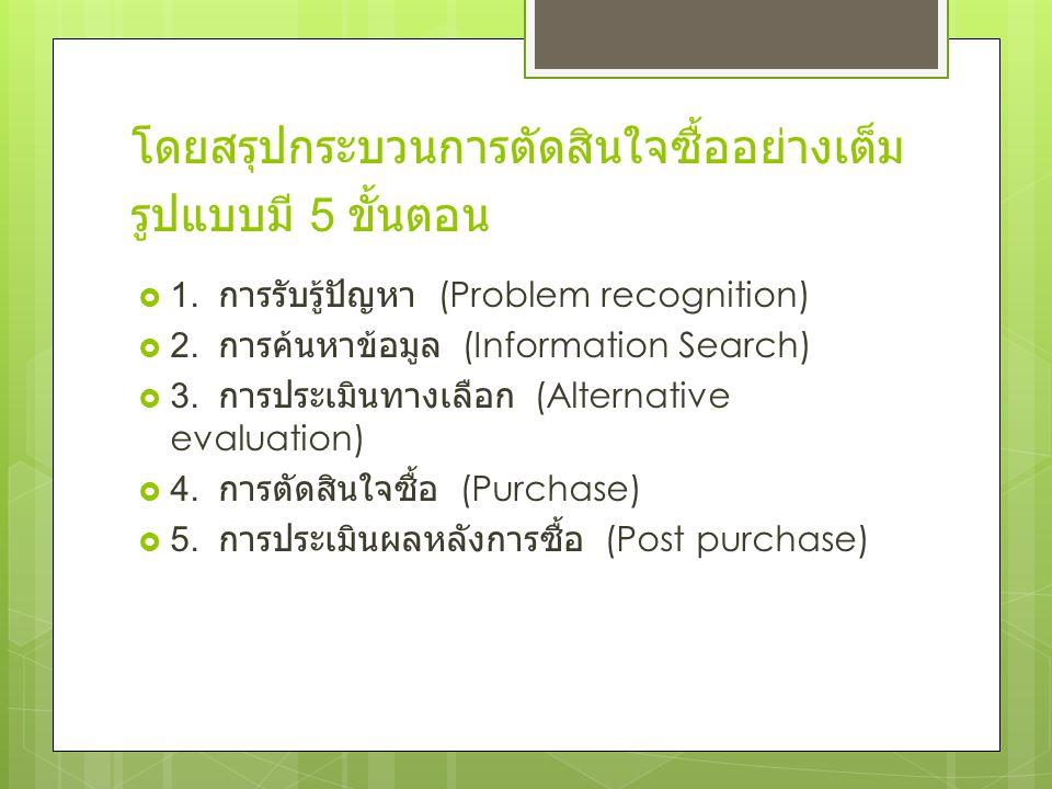 โดยสรุปกระบวนการตัดสินใจซื้ออย่างเต็มรูปแบบมี 5 ขั้นตอน