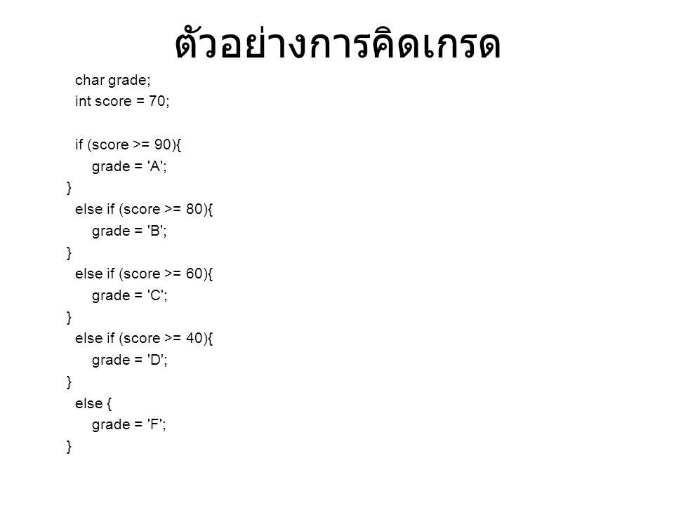 ตัวอย่างการคิดเกรด char grade; int score = 70; if (score >= 90){