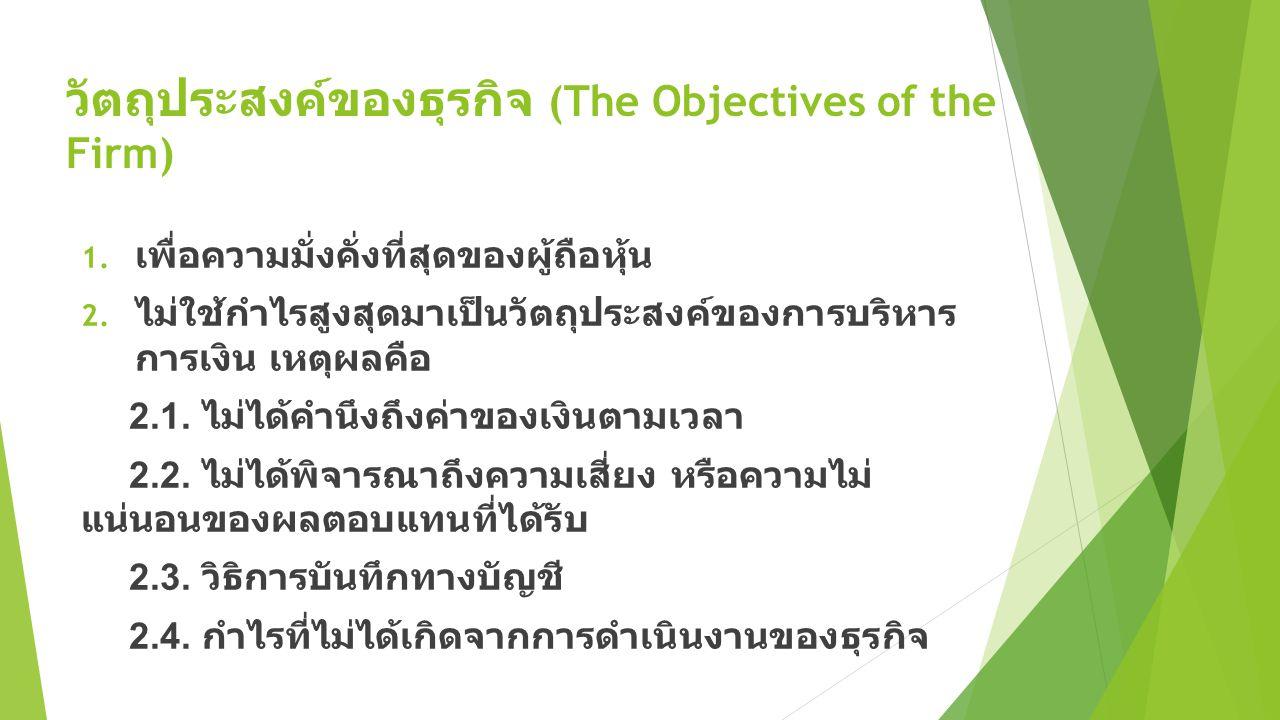 วัตถุประสงค์ของธุรกิจ (The Objectives of the Firm)