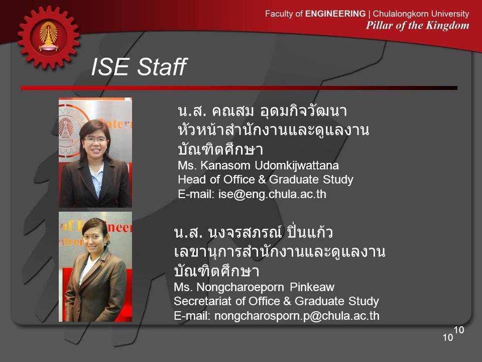 ISE Staff น.ส. คณสม อุดมกิจวัฒนา หัวหน้าสำนักงานและดูแลงานบัณฑิตศึกษา