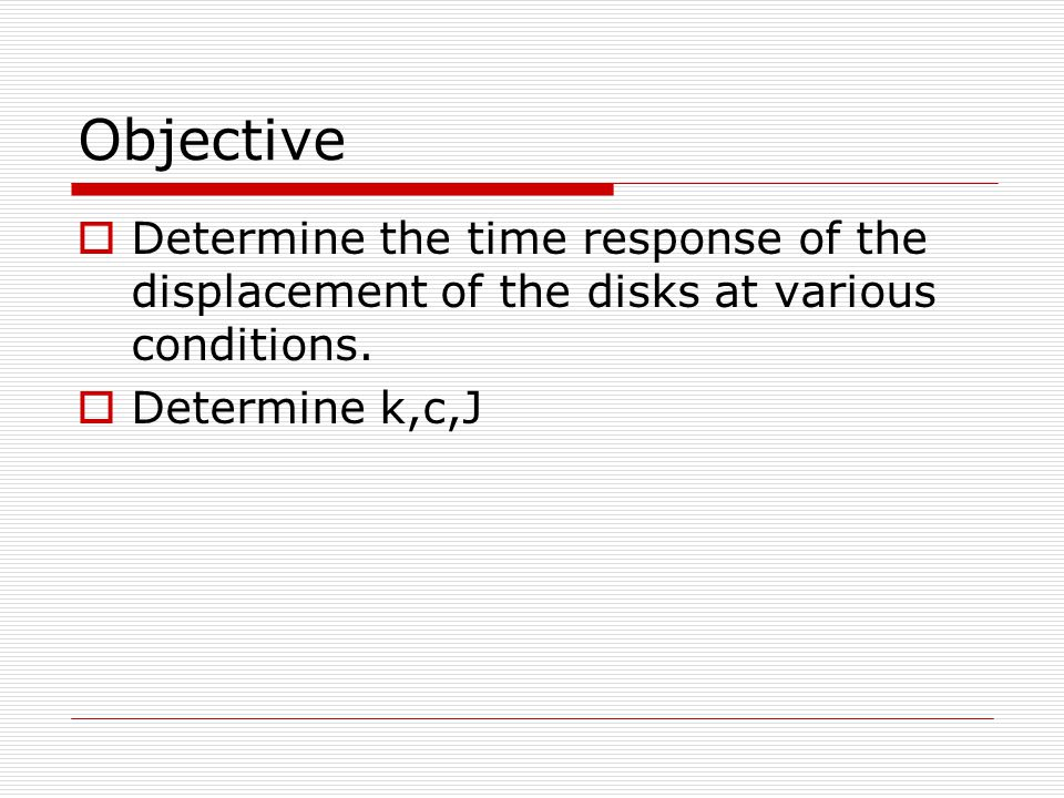 Objective Determine the time response of the displacement of the disks at various conditions.