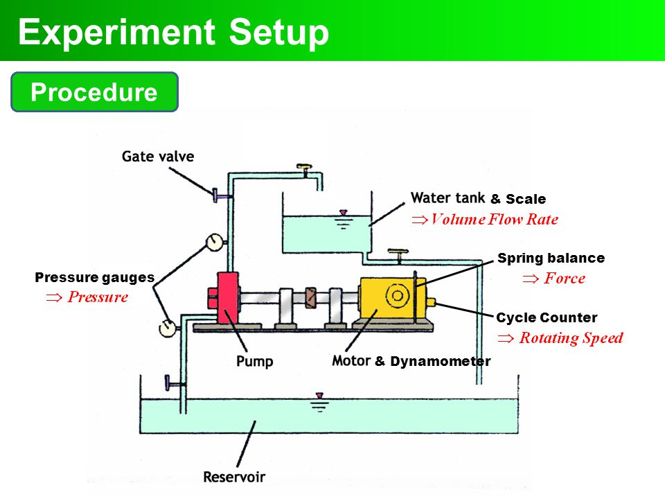 Experiment Setup Procedure & Scale Spring balance Pressure gauges