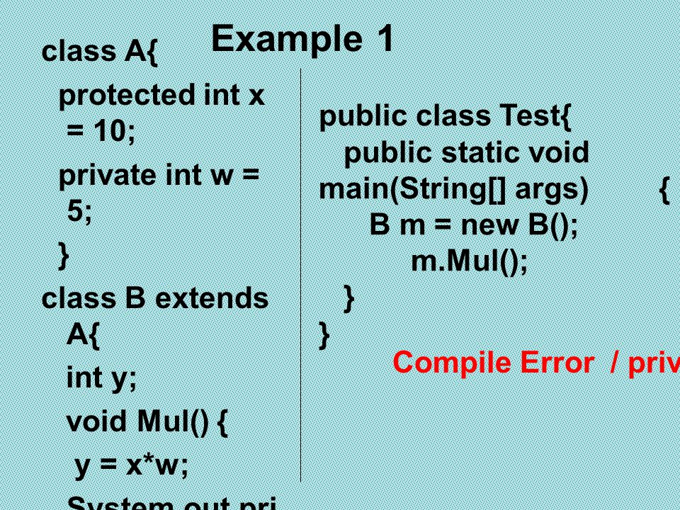 Example 1 class A{ protected int x = 10; private int w = 5; }