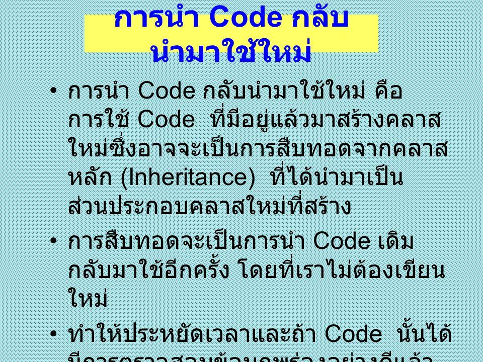 การนำ Code กลับนำมาใช้ใหม่