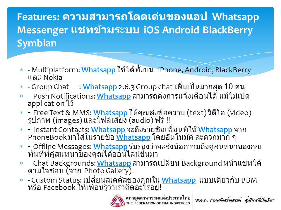 Features: ความสามารถโดดเด่นของแอป Whatsapp Messenger แชทข้ามระบบ iOS Android BlackBerry Symbian