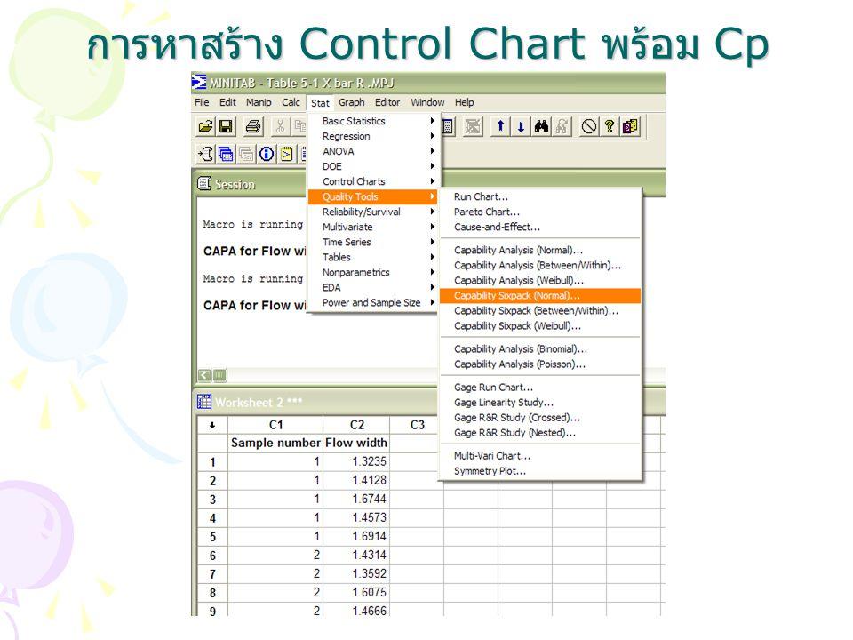 การหาสร้าง Control Chart พร้อม Cp