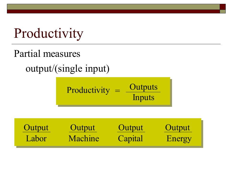 Productivity Partial measures output/(single input) Productivity =