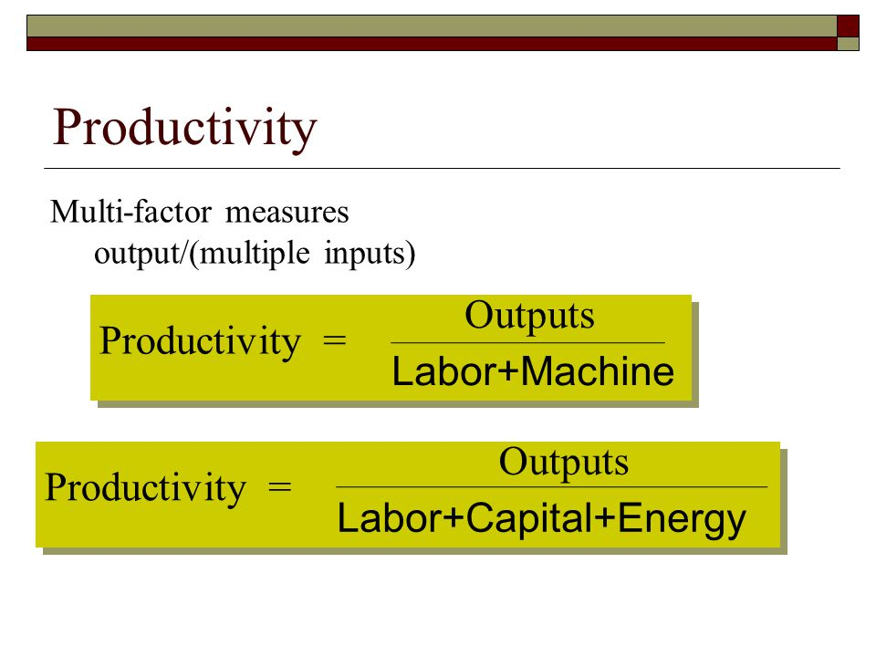 Productivity Productiv ity = Outputs Labor+Machine Productiv ity =
