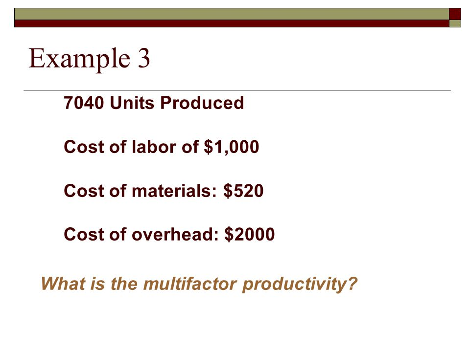 Example 3 7040 Units Produced Cost of labor of $1,000
