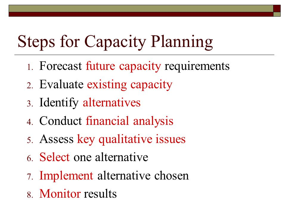 Steps for Capacity Planning