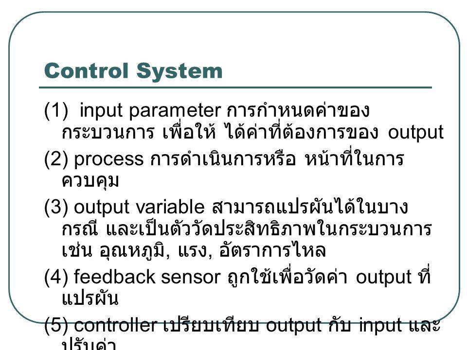 Control System (1) input parameter การกำหนดค่าของกระบวนการ เพื่อให้ ได้ค่าที่ต้องการของ output. (2) process การดำเนินการหรือ หน้าที่ในการควบคุม.