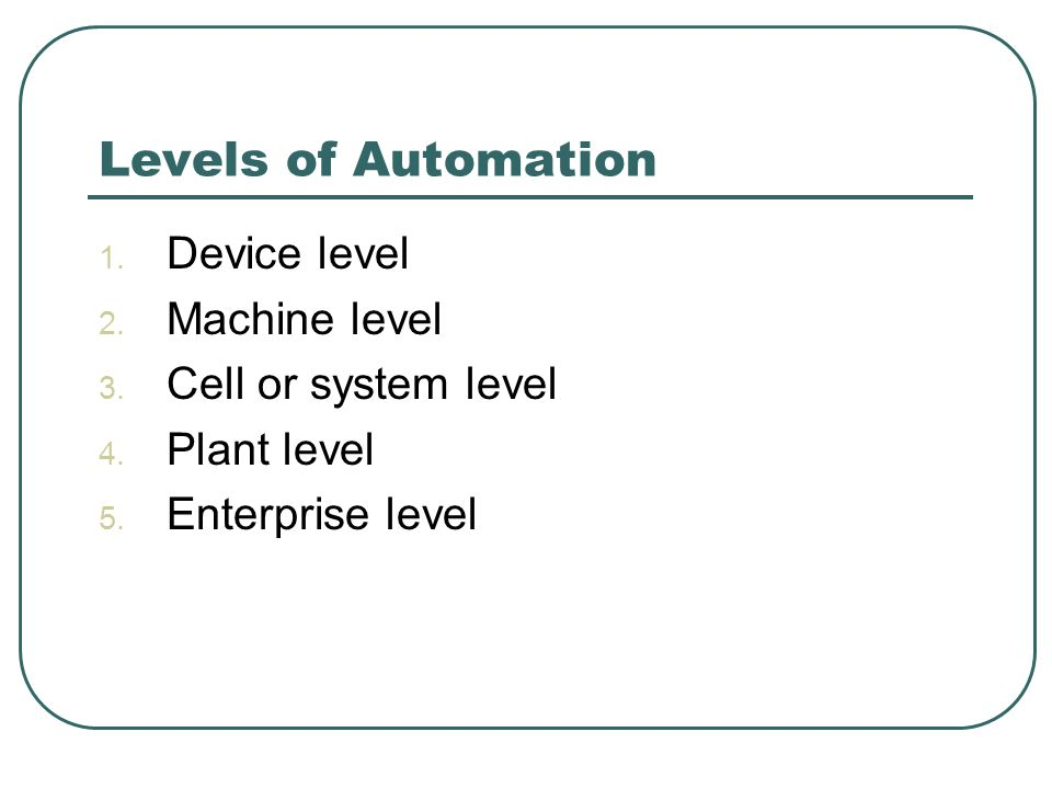 Levels of Automation Device level Machine level Cell or system level