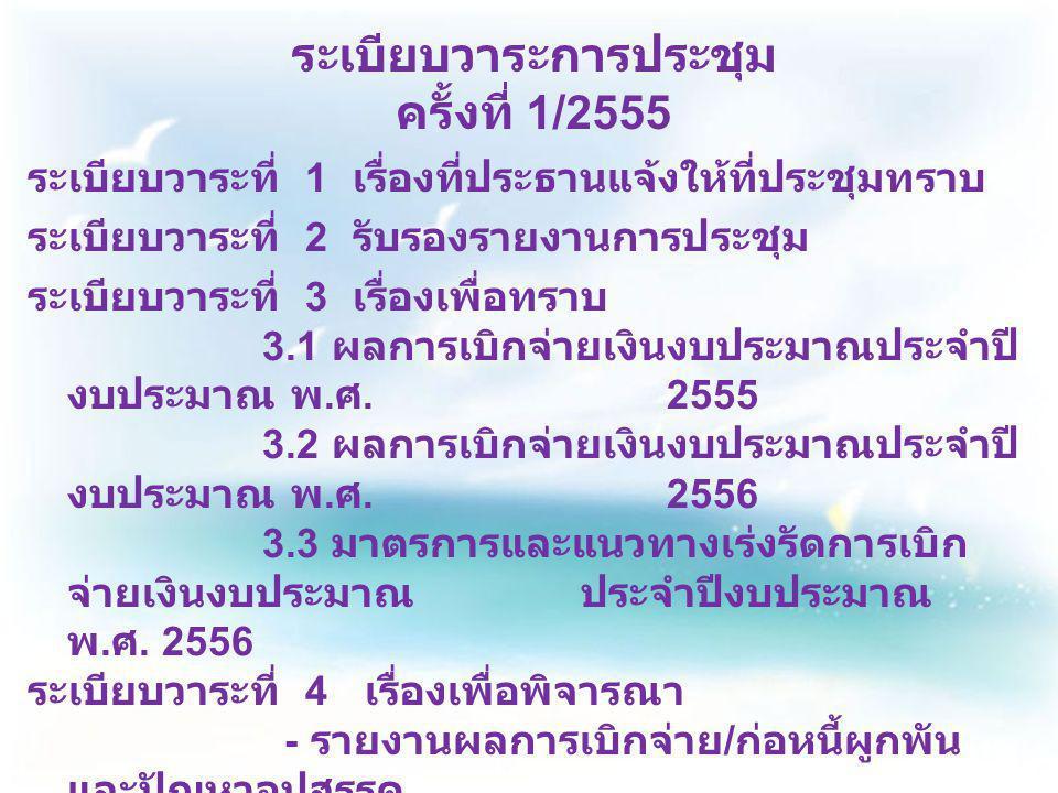 ระเบียบวาระการประชุม ครั้งที่ 1/2555