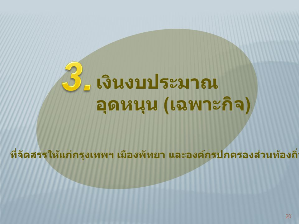 3. เงินงบประมาณ อุดหนุน (เฉพาะกิจ)