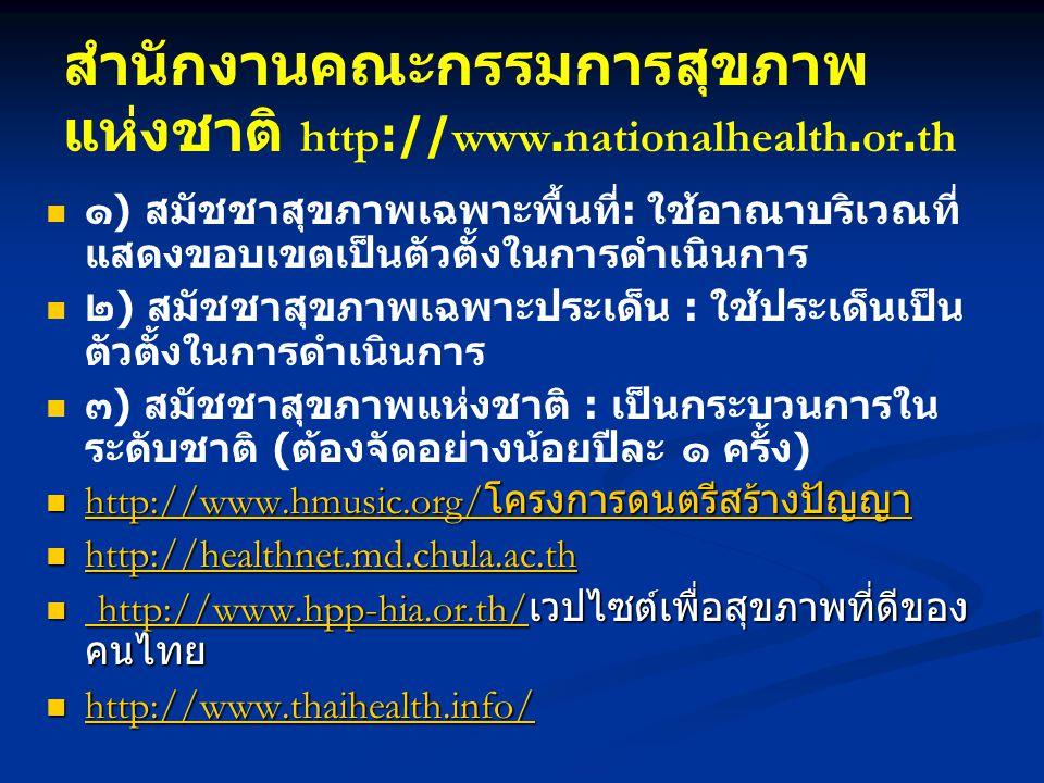 สำนักงานคณะกรรมการสุขภาพแห่งชาติ http://www.nationalhealth.or.th