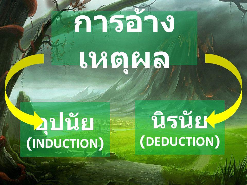 การอ้างเหตุผล นิรนัย (DEDUCTION) อุปนัย (INDUCTION)