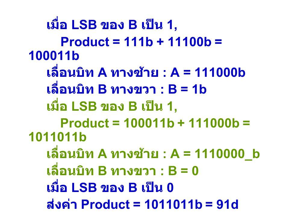 เมื่อ LSB ของ B เป็น 1, Product = 111b + 11100b = 100011b. เลื่อนบิท A ทางซ้าย : A = 111000b. เลื่อนบิท B ทางขวา : B = 1b.