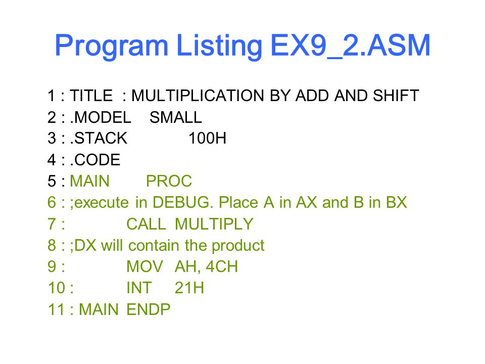 Program Listing EX9_2.ASM