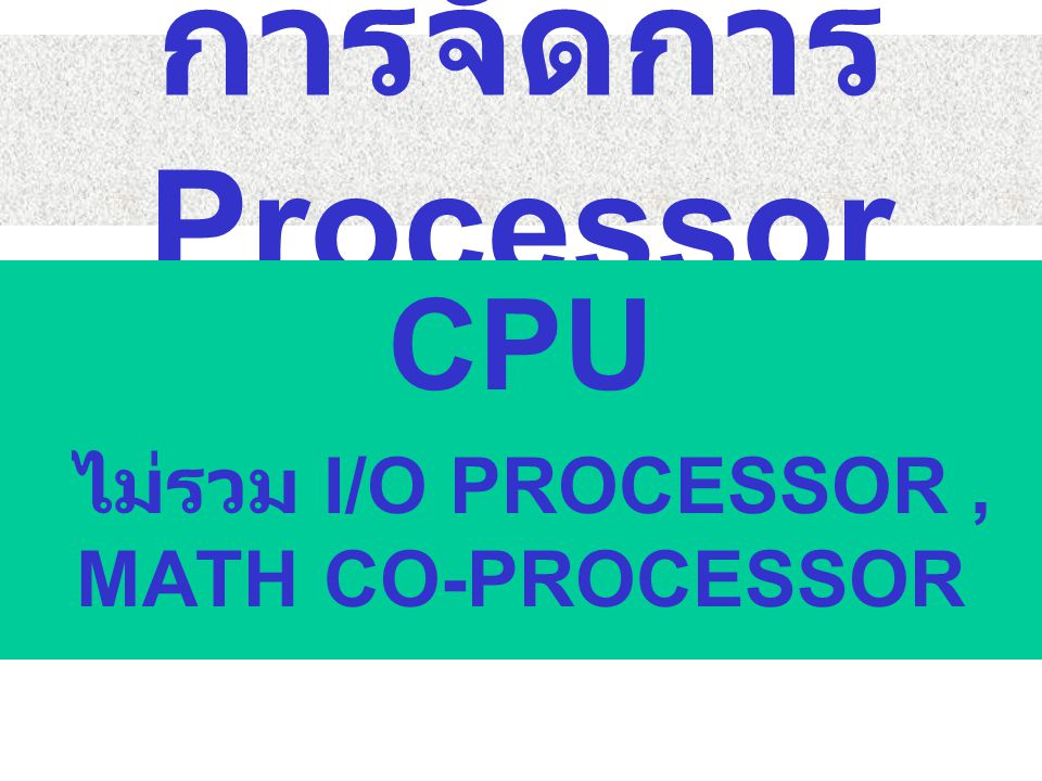 CPU ไม่รวม I/O PROCESSOR , MATH CO-PROCESSOR