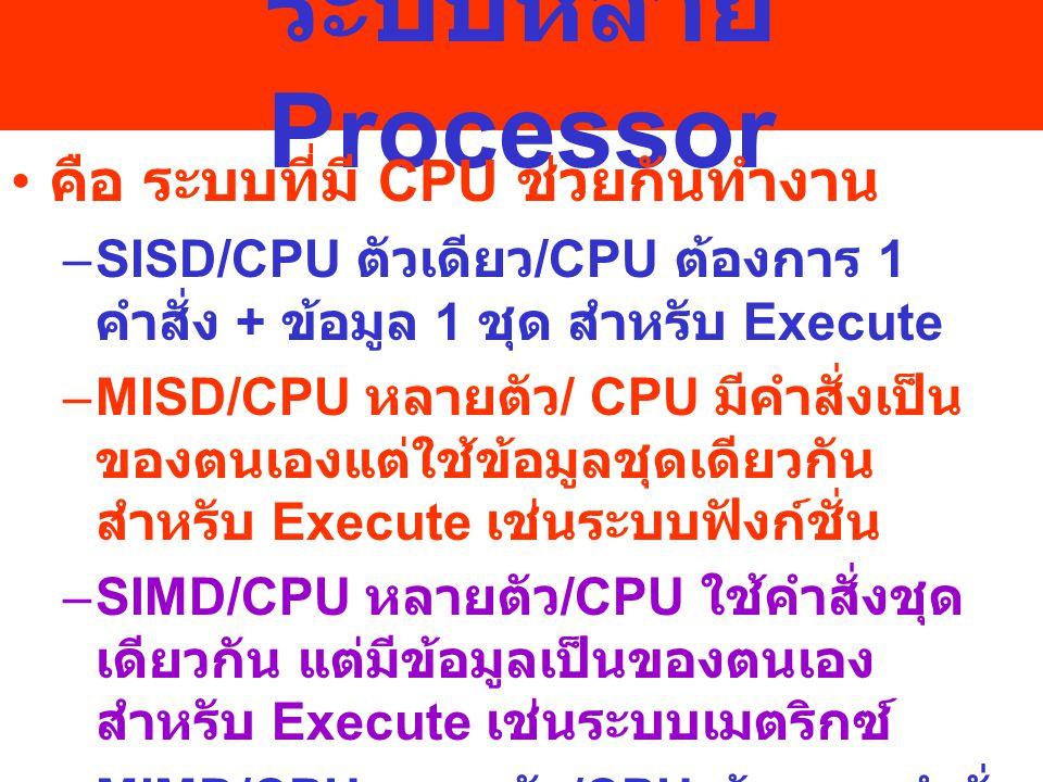 ระบบหลาย Processor คือ ระบบที่มี CPU ช่วยกันทำงาน