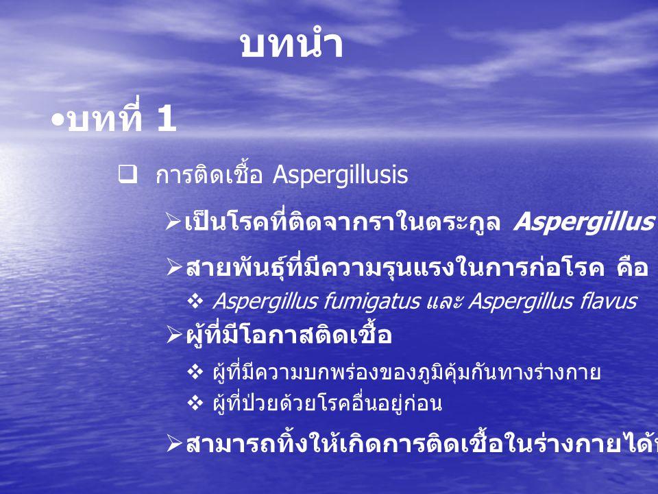 บทนำ บทที่ 1 การติดเชื้อ Aspergillusis