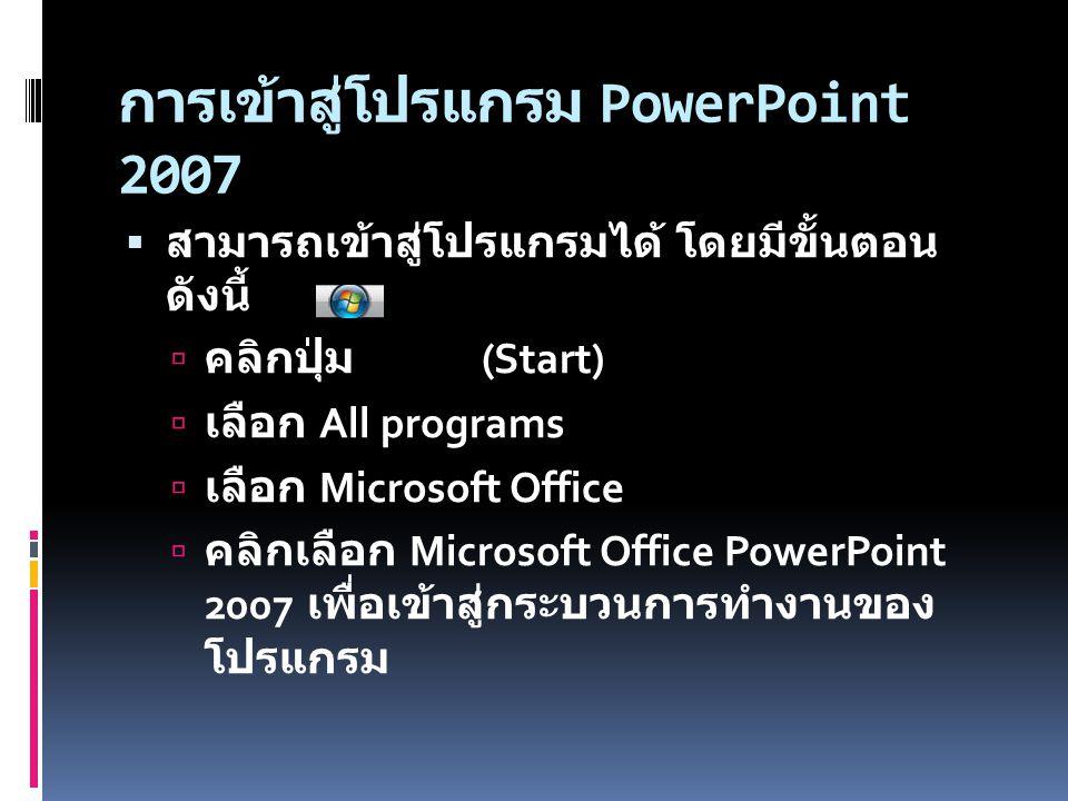 การเข้าสู่โปรแกรม PowerPoint 2007