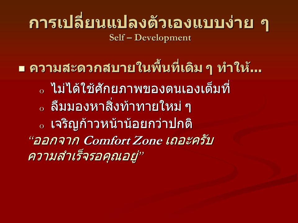 การเปลี่ยนแปลงตัวเองแบบง่าย ๆ Self – Development