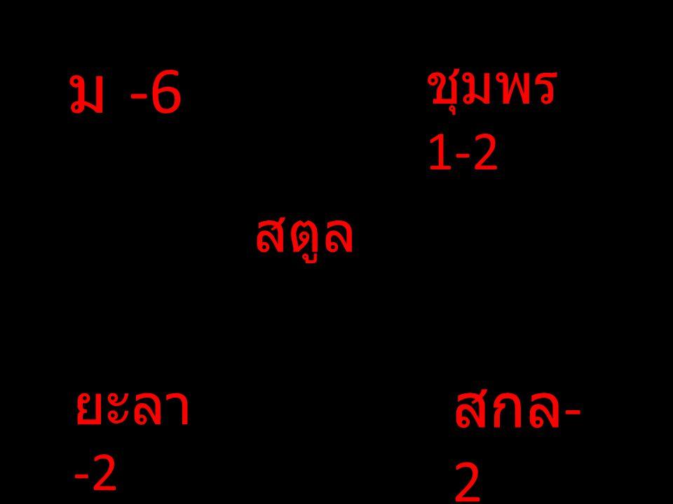 ม -6 ชุมพร 1-2 สตูล ยะลา-2 สกล-2