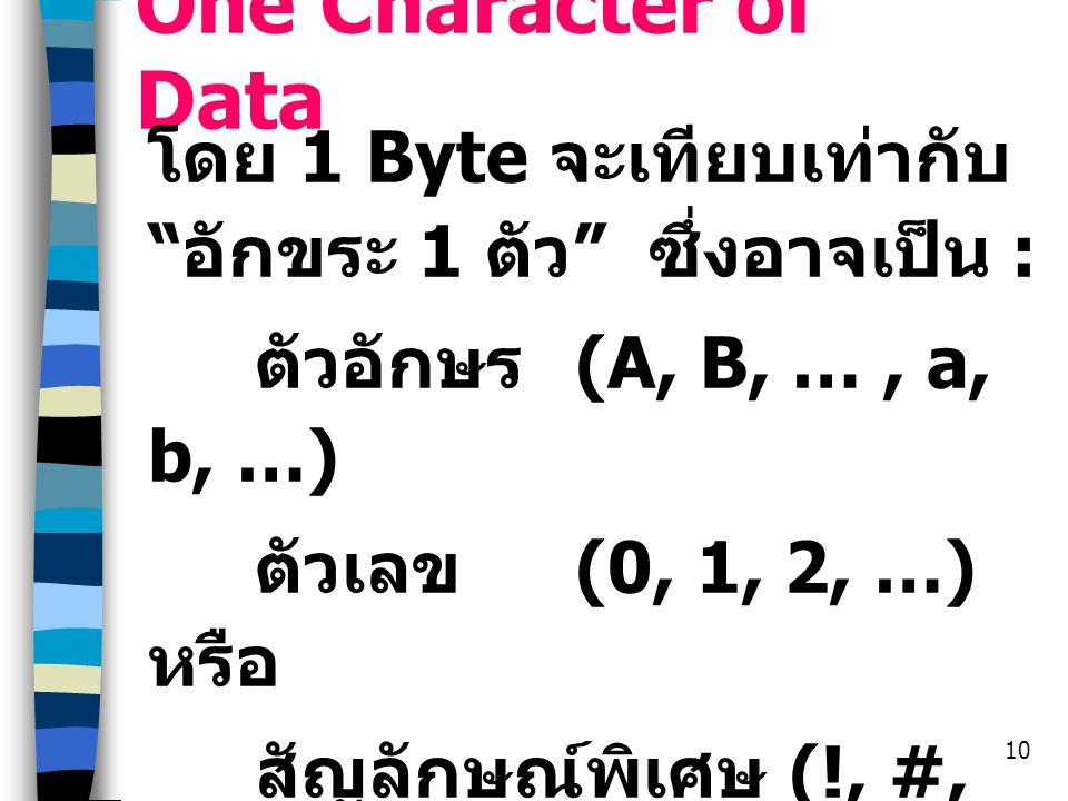 One Character of Data โดย 1 Byte จะเทียบเท่ากับ อักขระ 1 ตัว ซึ่งอาจเป็น : ตัวอักษร (A, B, … , a, b, …)