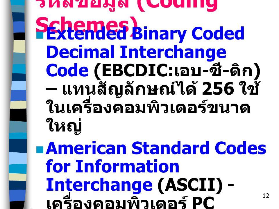 รหัสข้อมูล (Coding Schemes)