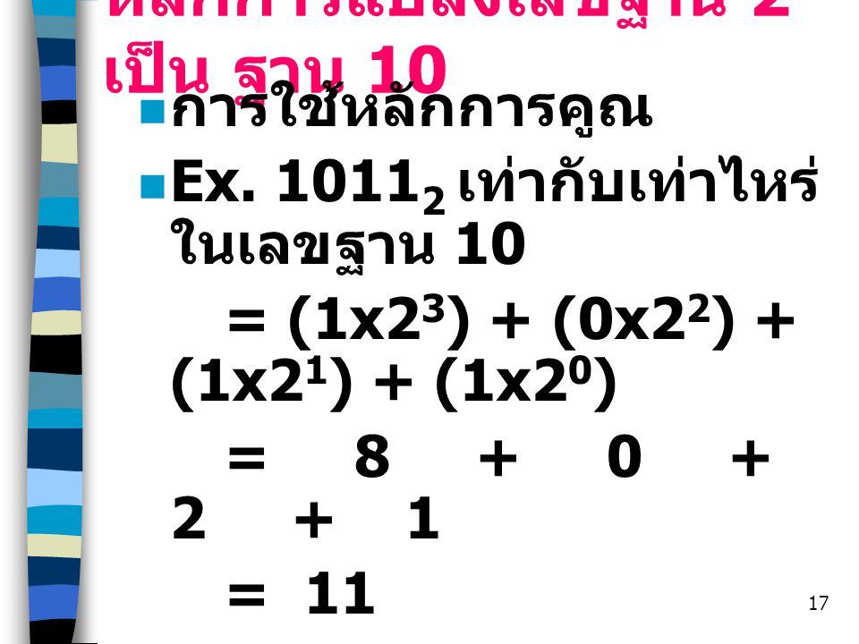 หลักการแปลงเลขฐาน 2 เป็น ฐาน 10