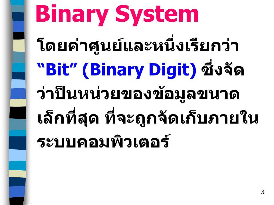 Binary System โดยค่าศูนย์และหนึ่งเรียกว่า Bit (Binary Digit) ซึ่งจัดว่าป็นหน่วยของข้อมูลขนาดเล็กที่สุด ที่จะถูกจัดเก็บภายในระบบคอมพิวเตอร์